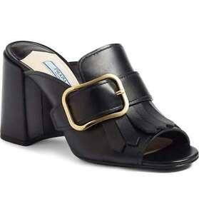 7d429df67a7a NIB PRADA Kiltie Fringe Buckle Strap Slide Mule Block Heel Shoe ...