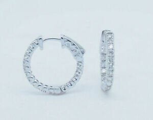 14K-White-Gold-1-02ctw-G-VS2-Round-Cut-Natural-Diamond-In-amp-Out-Hoop-Earrings