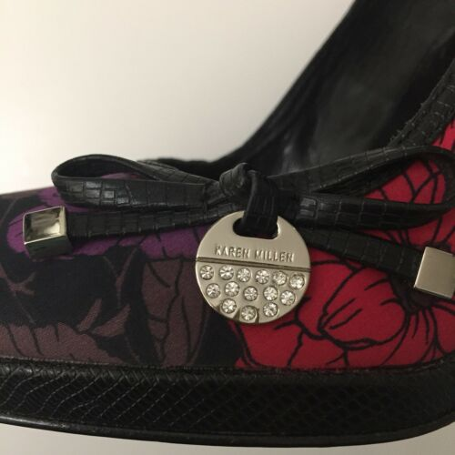 "Ladies Heel Floral Shoes Karen Size Satin 4 Millen Purple 4"" Pretty Leather Red rrzRqwA7"