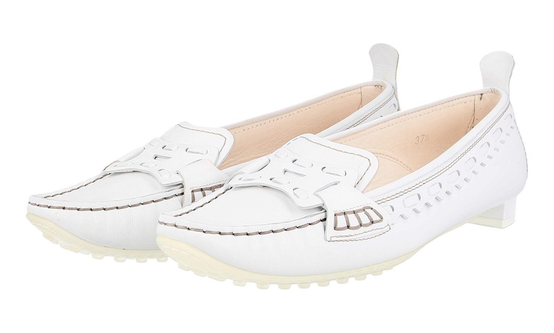 LUSSO autentici TOD'S Pantofola Mocassino Scarpe Bianco Nuovo 37,5 38