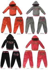 Jogging-Survetement-enfants-Fille-Sweat-Zipe-Capuche-2-Poches-Molletonne
