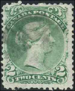 Canada-24i-used-F-1868-Queen-Victoria-2c-emerald-green-Large-Queen-Fancy-cork