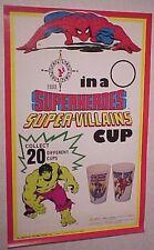 RARE 1978 MARVEL COMICS SUPERHERO ICEE BEAR PROMO DOOR POSTER Spiderman Hulk Cap