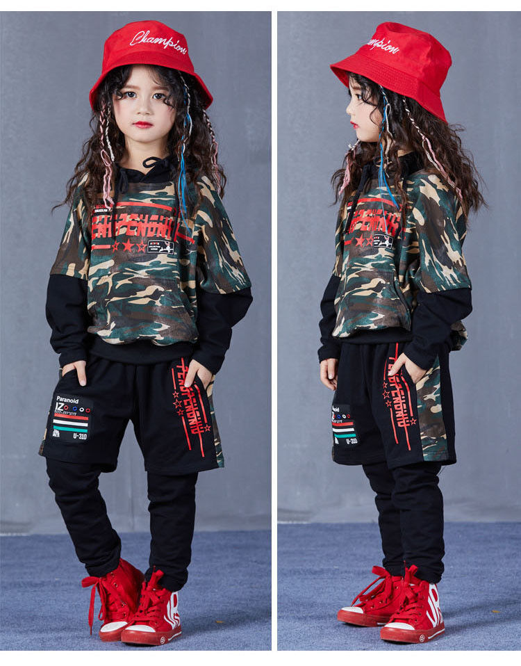 Kids Street Dance Costumes camouflage Jazz Hip Hop Sports Suit Hoodies Clothes