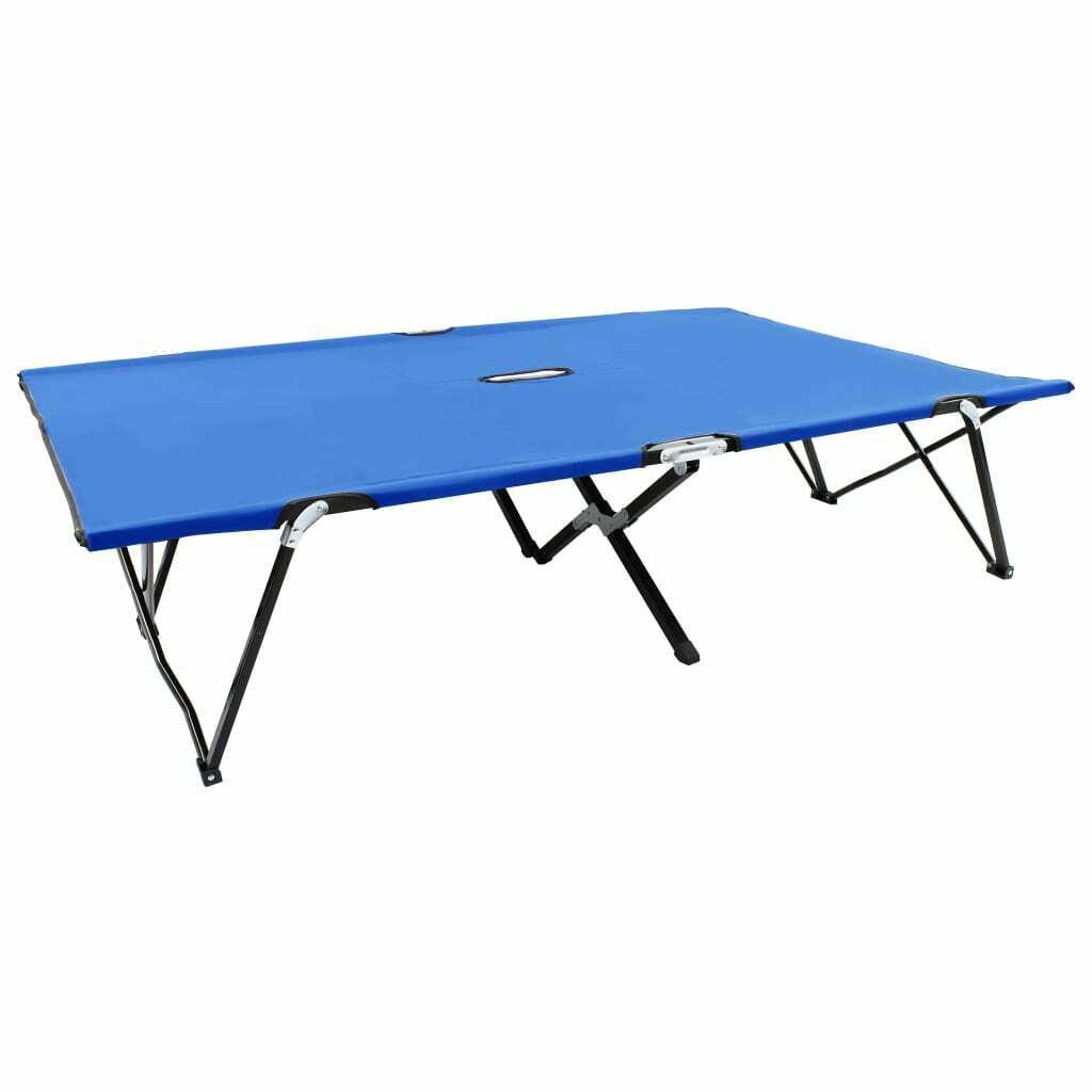 vidaXL Tumbona Plegable para 2 Personas Acero Azul Cama Portátil de Camping