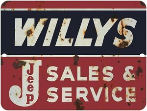 """WILLYS JEEP Sales & Service Vintage Looking Reproduction  9"""" x 12"""" Aluminum Sign"""