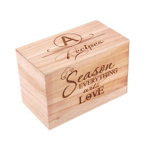 Monogrammed Personalized Recipe Box Custom Family Recipe Box Wood