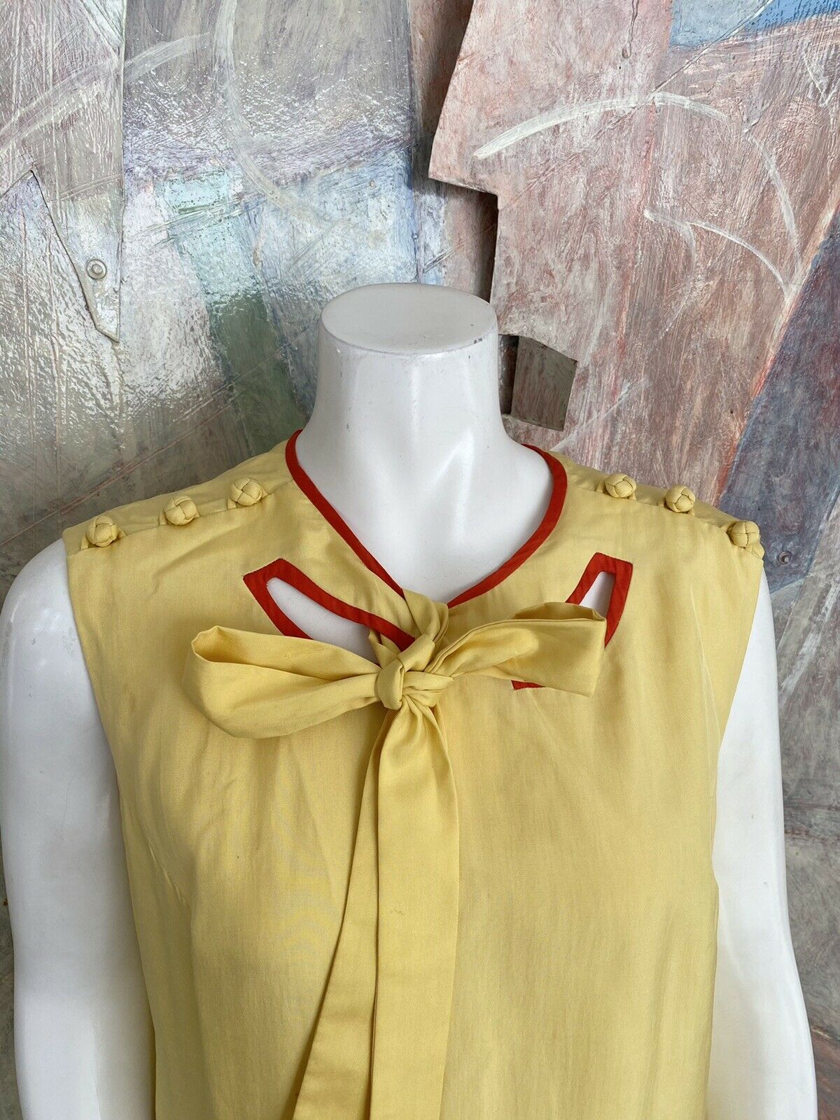 Vintage Alice John Rogers Yellow Silk Pussybow Sh… - image 2