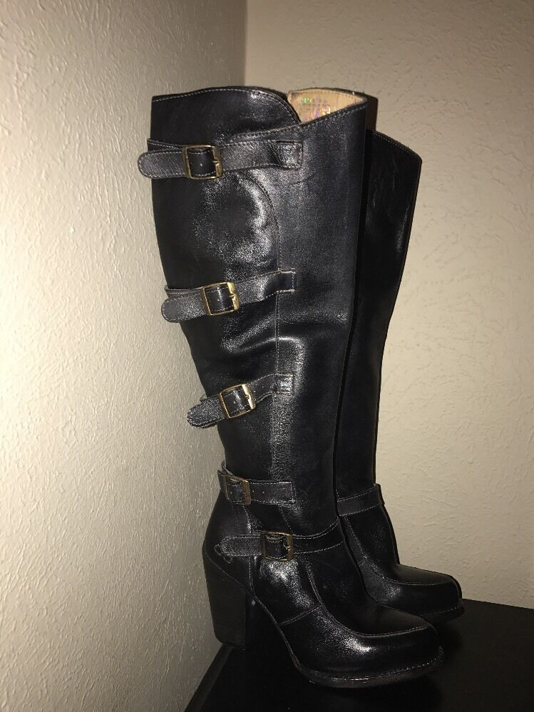 Bed Stu Statute Womens Black Leather Leather Leather Tall Motorcycle Boot 6  MSRP  350 88d000