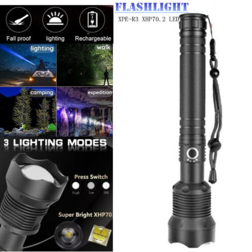 XPE-R3 XHP70.2 LED Rechargeable High Power Flashlight Zoomable lamps Hiking camp