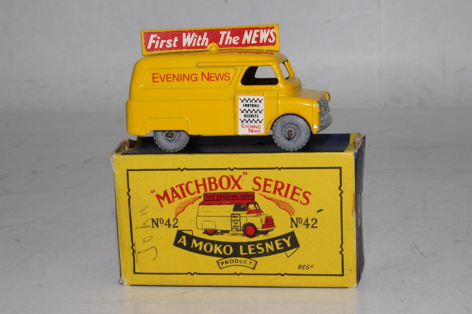 Matchbox Lesney  42a Bedford Abend News Lastwagen, Metall Räder, Hervorragend,