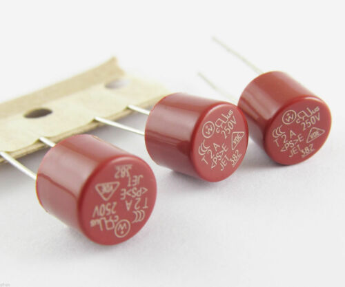 10 x Capacitive Red Cylindrical Miniature Micro Slow Blow Time Delay Fuse 250V