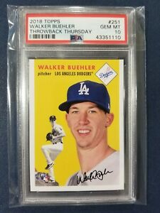 2018-Topps-Throwback-Thursday-1954-251-WALKER-BUEHLER-RC-Dodgers-Rookie-PSA-10