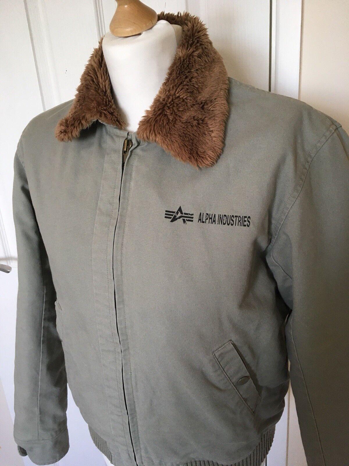 Alpha Industries Pour Femme Homme Fourrure Jacket A Col Militaire