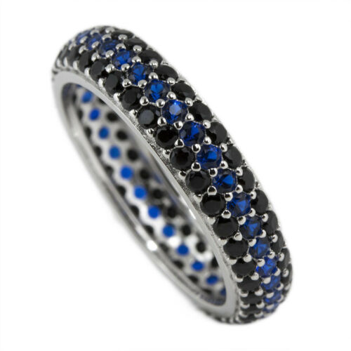 Law Enforcement Ring Womens Police Eternity Band Black /& Blue CZ Pave Sterling