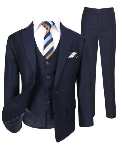 Ragazzi ITALIANI Tute Blu Bambini Formale Matrimonio Prom Party Blu Scuro Navy Suit