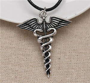 Percy jackson angel wings magic wand caduceus pendant necklace image is loading percy jackson angel wings magic wand caduceus pendant mozeypictures Image collections