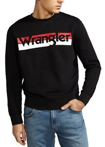 Wrangler Logo In Da Uomo Cotone Grande Nero Felpa Girocollo Retrò HOrqHwP
