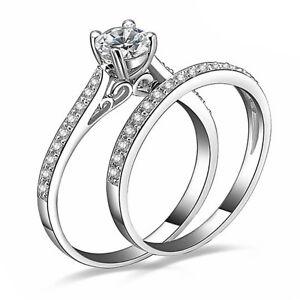 Plata-en-Circonia-Cubica-Solitario-Anillo-de-compromiso-de-boda-anillos-apilados