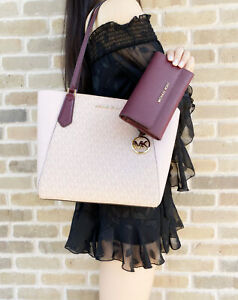 Michael-Kors-Kimberly-Small-Bonded-Top-Zip-Tote-Pink-MK-Large-Trifold-Wallet