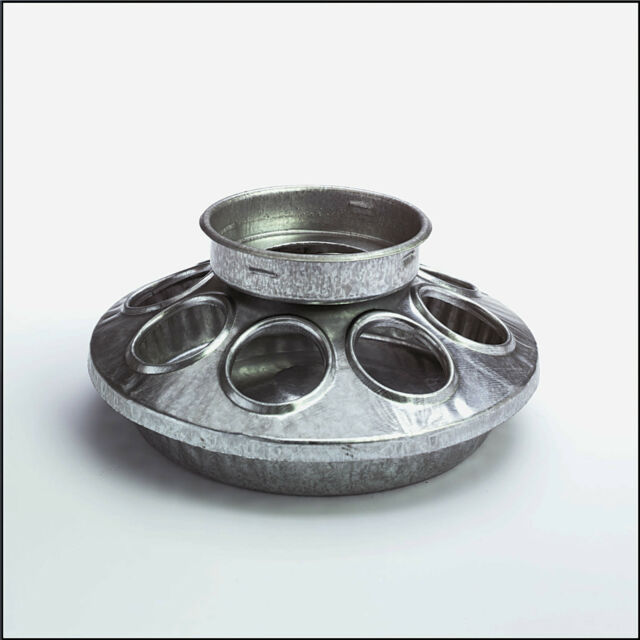 galvanized chick feeder base, fits small mouth qt jar.