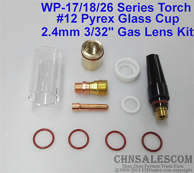 """TIG Welding Torch 3//32/"""" Gas Lens #12 Pyrex Cup 2.4mm Collet Kit For WP-17 18"""