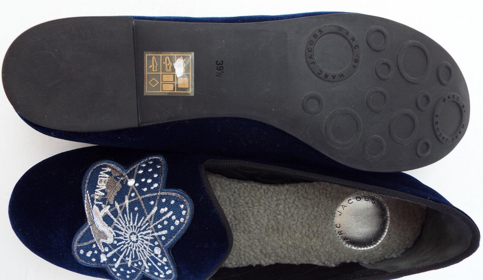 New MARC MARC MARC JACOBS Size 9 bluee Velvet Space Shuttle Slipper Flats shoes 39 1 2 54ca94