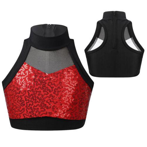 Kid Girl Dance Tanks Sports T-shirt Tops Shiny Sequins Crop Top Mesh Splice Vest