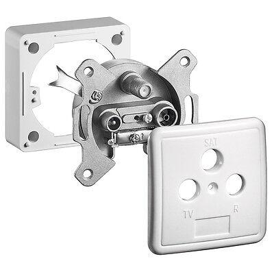 Rahmen+Deckel Enddose Stichdose m 2 Loch 2x Antennendose für Kabelanschluss
