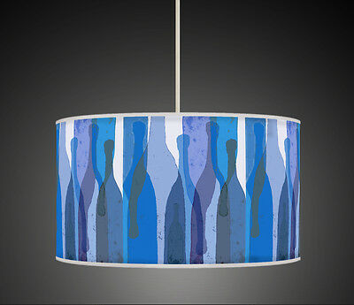 Modern Art Blue Bottels Retro Handmade Printed Fabric Drum  Lampshade 777