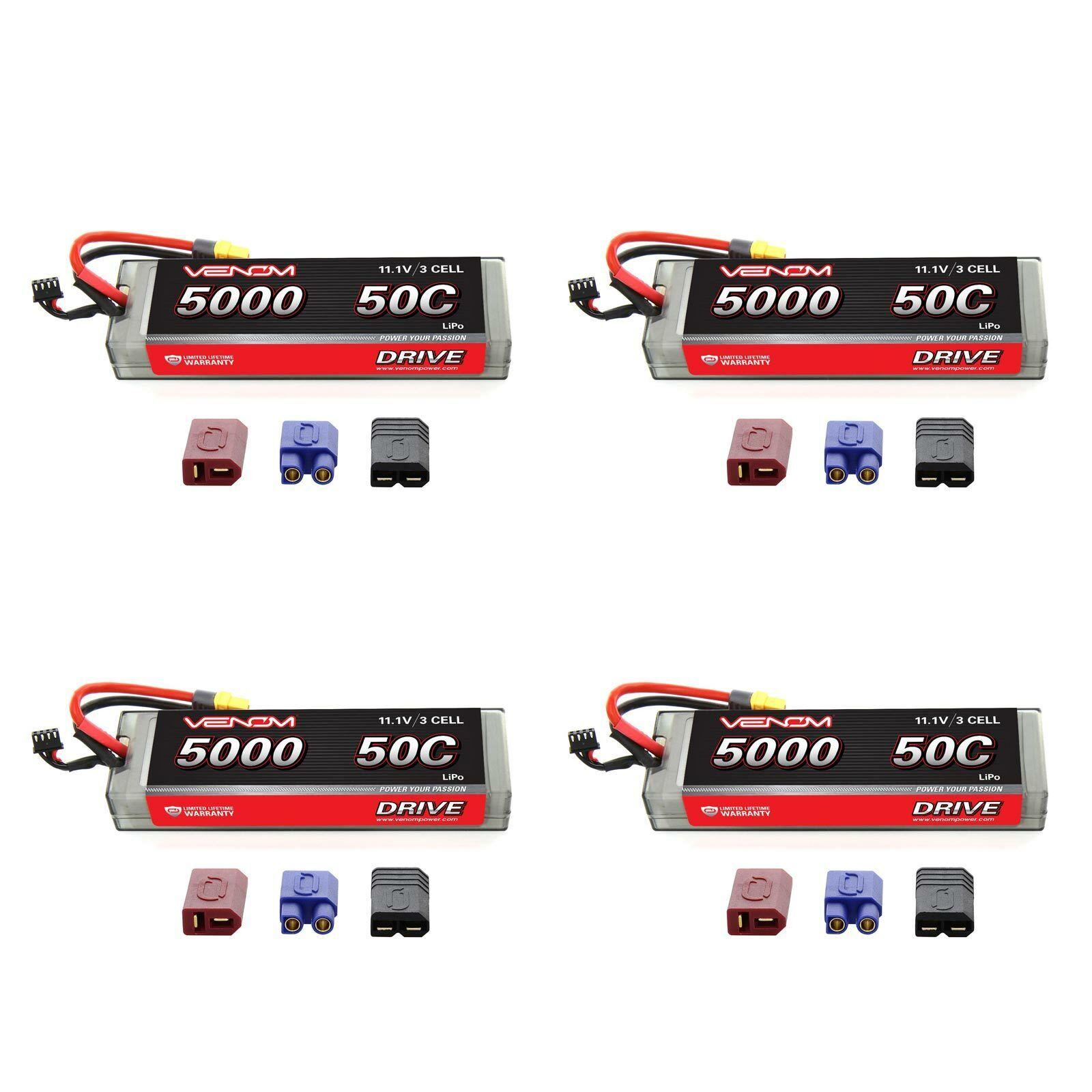 Venom 50C 3S 11.1V 5000mAh Batería LiPo Hardcase paquete plano con paquetes de Enchufe x4 Uni