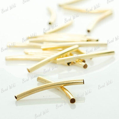 60 Gold Plated Curved Tube Charm Spacer Metal Bead MB27