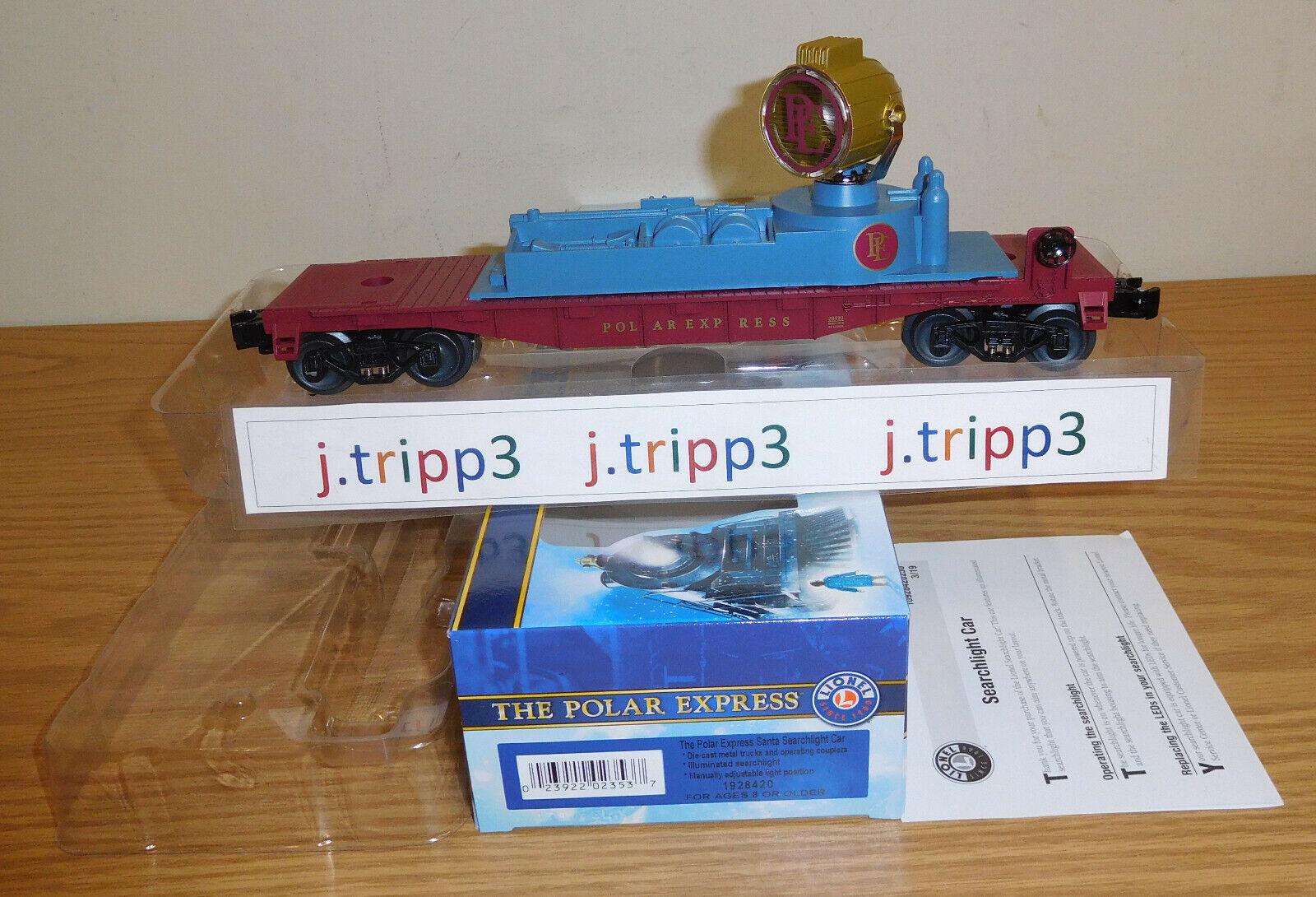 LIONEL 1928420 THE POLAR EXPRESS SEARCHLIGHT auto giocattolo TRAIN O GAUGE RAILstrada NIB