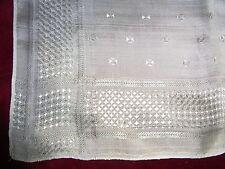 N12 ANCIEN FOULARD Fine soie brochée Croix de Malte Antique Brocade Silk Scarf