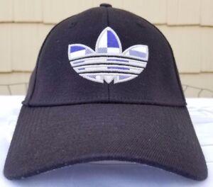 Adidas A-Flex cap sz S M black purple plaid logo stretch fit hat  96b85e92c879