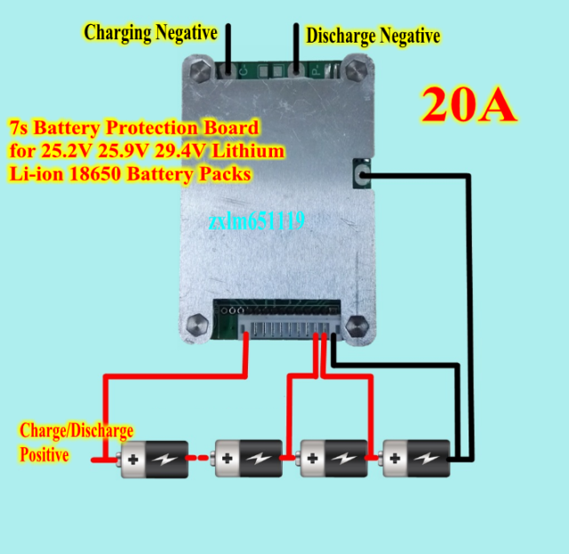 4V 20A 7S 18650 Cells w// Balance Li-ion Lithium Battery Protection Board