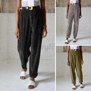 Size Women's Straight Leg Corduroy Pants Ladies Casual Loose Long Chino Trousers