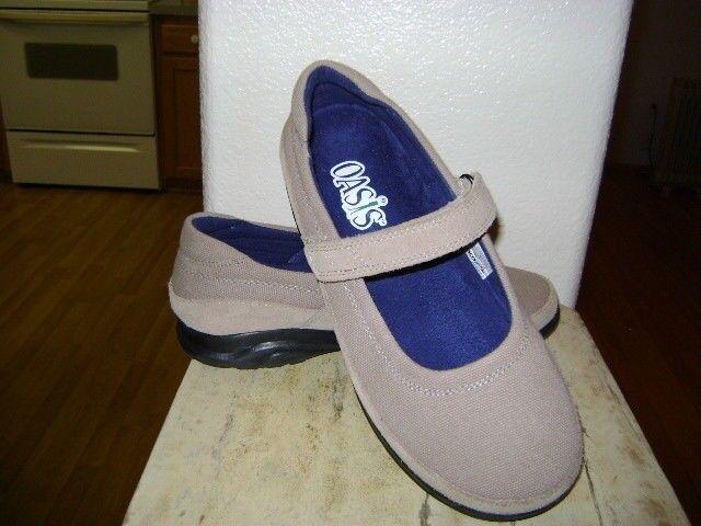 Oasis Mary Jane Tan Canvas US 8.5 WW  Diabetic Shoe Extra Wide