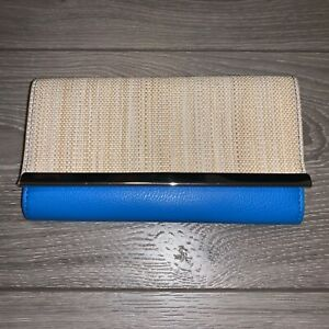 Women-s-Spring-Summer-Clutch-Wallet-Blue-Beige-RFID-Protection-NEW-with-Tags