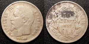 Napoleón Iii - 50 centavos Bare Cabeza Plata 1857, Paris-F.187/8