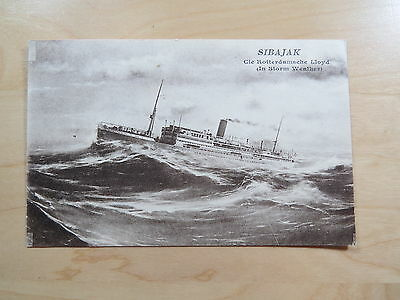 Postcard Schip Ship Sibajak Cie Rotterdamsche Lloyd In Storm Weather Unused Suave Y Antideslizante