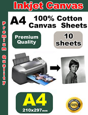 10 sheets of White ink jet A4 Printing Canvas 100% Cotton 340gsm inkjet