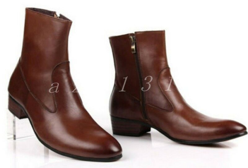 Mens Leather Low Chunky Heel Pointed Toe Side Zipper Ankle Boots West shoes Size