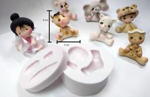 bear  Silicone Mold flexible clay  Fondant Soft Cake cold porcelain chocolate
