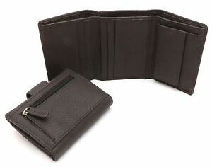 Trifold Genuine Sheep Leather Plain Brown Compact Wallet 12 Card Pockets