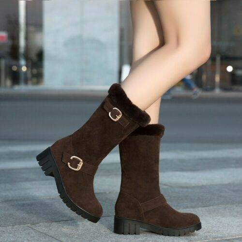 UK Womens Warm Fur Lined Snow Boots Square Heels Ankle Boots Suede Winter Shoes
