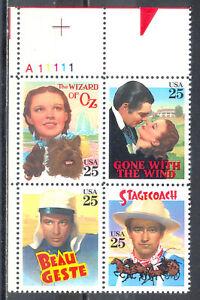 US-Stamp-L232-Scott-2445-2448-Mint-NH-OG-Nice-Plate-Block-Classic-Films