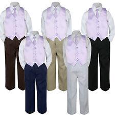 4pc Boy Suit Set Coral Sunset Parfait Vest Necktie Baby Toddler Kid Pants S-7