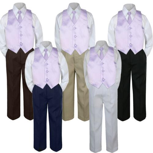 4pc Boy Suit Set Lilac Lavender Vest Necktie Baby Toddler Kid Pants S-7
