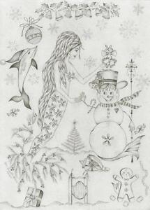 MERMAID-MERRY-CHRISTMAS-SANDDOLLAR-SNOWMAN-GINGERBREAD-MAN-SLED-MISTLETOE-PRINT